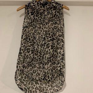 H&M cheetah silk blouse tank top